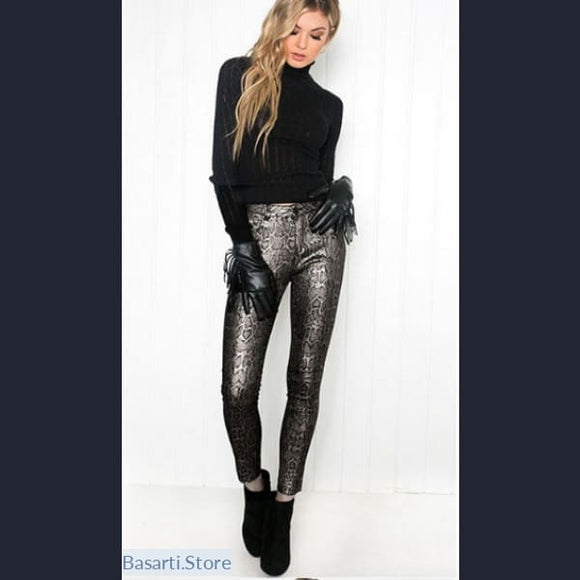 Dark Silver Snake Print Faux Leather Pants (xs - xl), Faux Leather Snake Pants- Basarti.Store