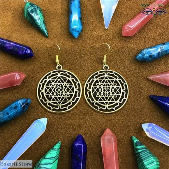 Different Sacred Geometric Design Earrings, sacred geometry earrings- Basarti.Store