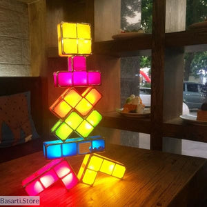 DIY Tetris Puzzle Light Stackable LED, DIY Toy Kid- Basarti.Store