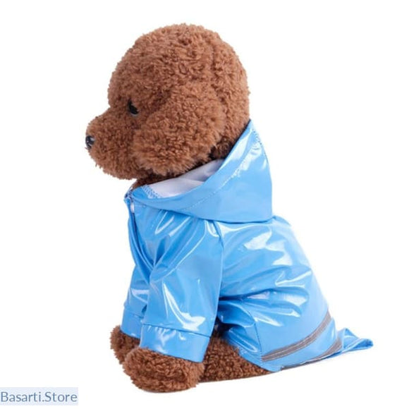 Dog Waterproof Raincoat with Hood and Reflective Strip, Pet- Basarti.Store
