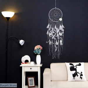 Dream Catcher with White Feathers Pendant, Gift Decor Energy Tool- Basarti.Store
