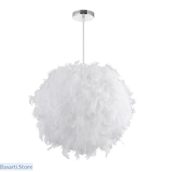 Dreamlike White Color Feather Modern style Droplight Ceiling Lamp, Feather Lamp- Basarti.Store