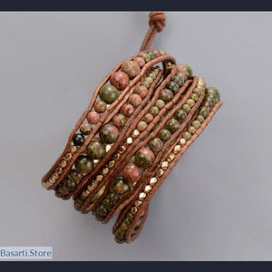 Earthy Natural Gem-stones with Golden Beads 5 x Wrap Bracelet, wrap Bracelet- Basarti.Store