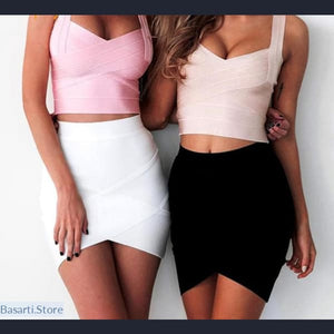 Elastic Solid Mini Skirt, - Basarti.Store