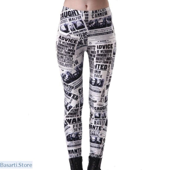 Elastic Waist Casual Printed English Newspaper Pattern Pants - 200000865