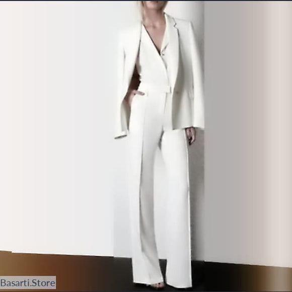 Elegant Hand Tailored Silk Pant Suit, Elegant Hand Tailored Silk Pant Suit- Basarti.Store