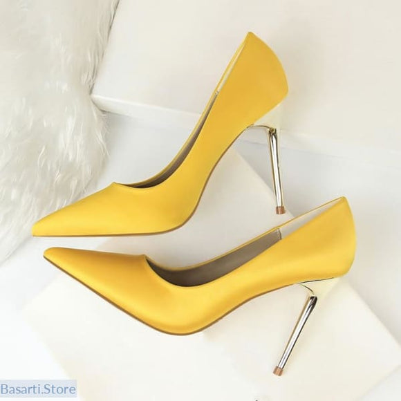 Elegant Silk Metal Stiletto High Heel Shoes in 8 Colors