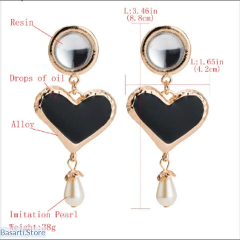 Fashion Statement Heart Crystal Drop Earrings With Simulated Pearl