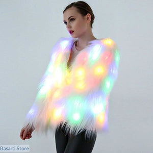Faux Fur with Led Lights, Party or Club Women's Coat, - Basarti.Store
