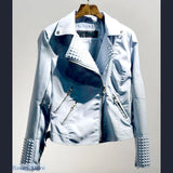 Faux Leather Jacket with Rivets, Faux Leather Jacket with Rivets- Basarti.Store