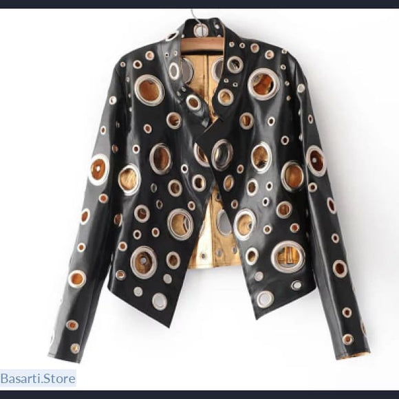 Faux Leather Jacket Women with Hollow Out Golden Circles, Faux Leather Jacket Women with Metal circle- Basarti.Store