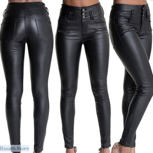 Faux Leather Tight Pants High Waisted & Full Length - S - Women Leather Pants