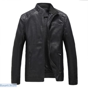 Faux Mens Leather Jacket, - Basarti.Store
