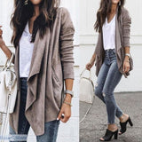 Faux Suede Leather Casual Asymmetrical Jacket - 200001909