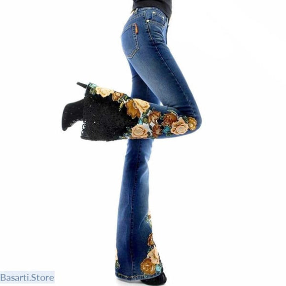 Flare Leg Jeans with Beads Embroidery and Lace Appliques, Flare Leg Jeans with Beads and Lace Embroidery- Basarti.Store