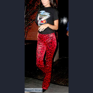 Flare Leopard Pants (Red or White), Red Leopard Pants- Basarti.Store