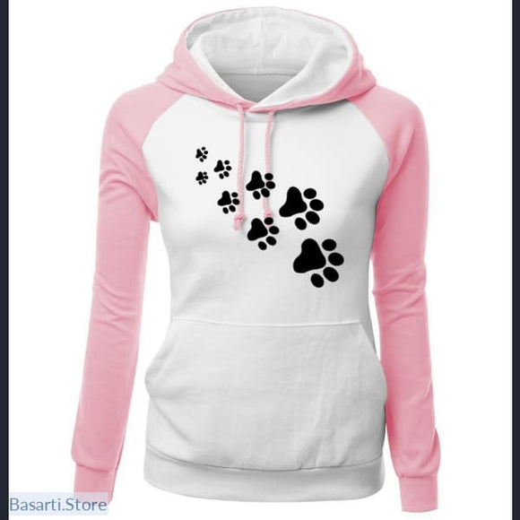 Fleece Paw Print Hooded Sweatshirt in 5 Colors and Sizes S-2XL, 200000348- Basarti.Store