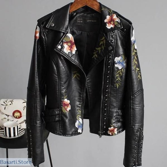 Floral Print Embroidery Faux Soft Leather Jacket in 2 Colors, 200001909- Basarti.Store