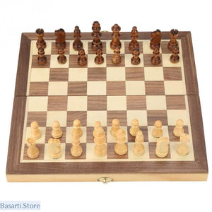 Foldable Magnetic Wooden Chess Board - Handcrafted Pieces for Kids Adults, Game Chess- Basarti.Store