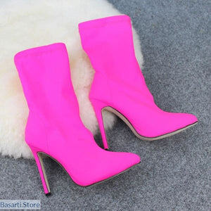 Funky Candy Color Pointed Toe High Heel Elastic Cloth Boots - 200000998