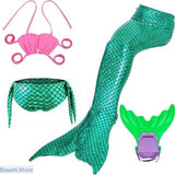 Girl Princess Mermaid Tail Swimmable Dress - Swimwear ($33.98 to $ 43.58) - Gift Kid Costume