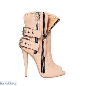 Gladiator Buckle Side Zipper High Heel Pumps - 200000998