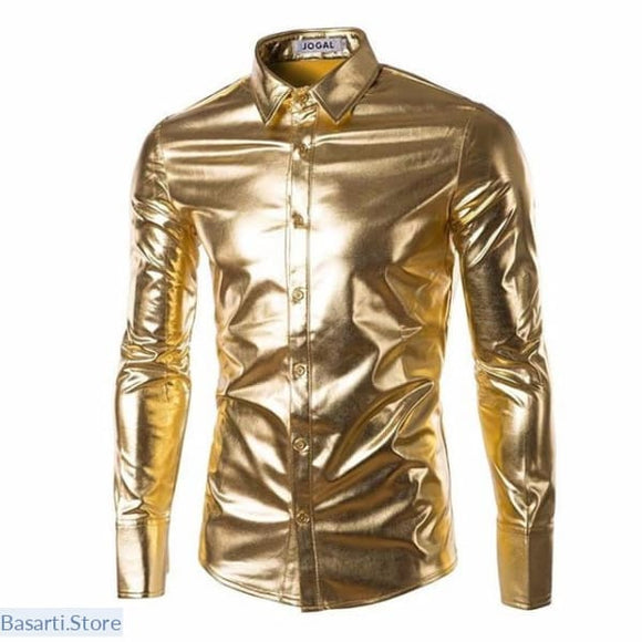 Glossy Slim Fit Shirts Long Homme (Silver Gold Black etc) - B603 Gold / M - Gift for Him