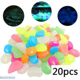 Glow in the Dark Garden Luminous Pebbles Rocks (100 or 220pcs/lot) - 20 pcs Multi-Color - Misc. Novelties