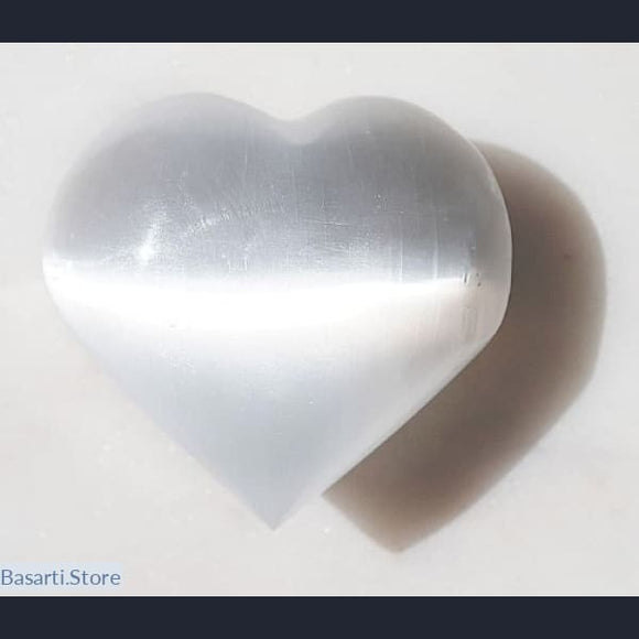 Glowing Natural Selenite Heart - Palm Stone - Selenite Heart
