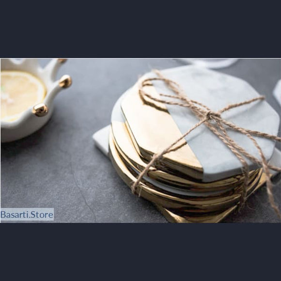 Gold Plated Marble Grain Ceramic Cup Coaster - Ceramic Cup Coaster
