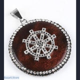 Gothic Round Pendants in Wood with Rhinestone Beads Pendant (Different Designs) - Rudder 2 - Jewelry Pendant