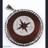 Gothic Round Pendants in Wood with Rhinestone Beads Pendant (Different Designs) - Starlight - Jewelry Pendant