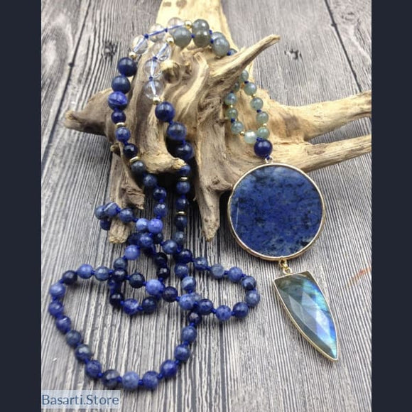 Hand Knotted 108 Natural Sodalite and Labradorite Beads Necklace with Large Labradorite Pendant - 80cm long - Jewelry Mala Necklace
