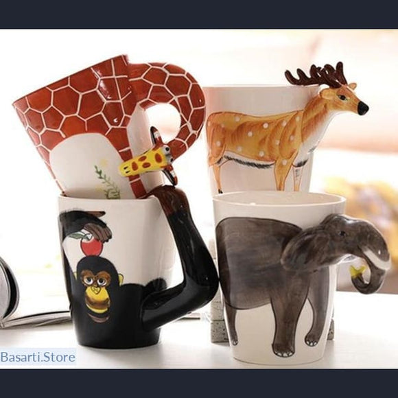 Hand Painted Animal Ceramic Coffee Mugs - 100003290