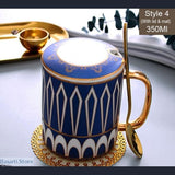 Hand Painted Porcelain Ceramic Coffee Mug With Lid and Spoon - Blue and Gold 4 - Handpainted coffee Mug