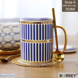 Hand Painted Porcelain Ceramic Coffee Mug With Lid and Spoon - Blue and Gold 6 - Handpainted coffee Mug