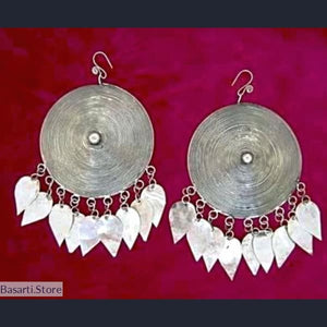 Handcrafted Circled Dot Miao Silver Drop Earrings - tribal earrings