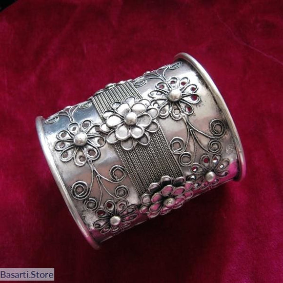 Handcrafted Miao Silver Cuff Bracelet - tribal
