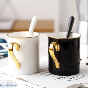 Handmade Ceramic Gold on White or Black Coffee Mug - 100003290