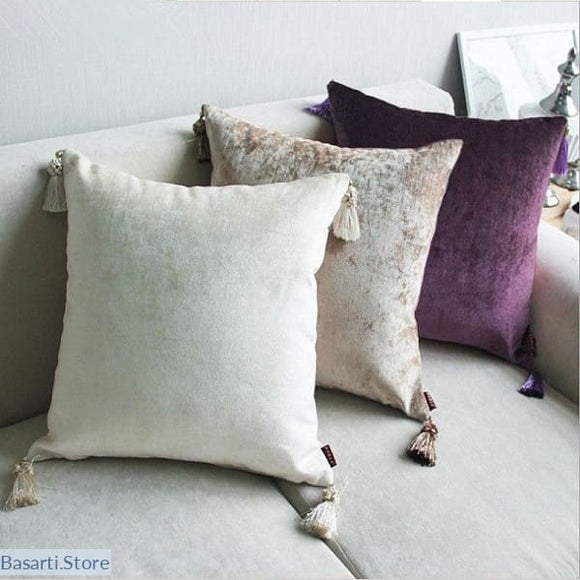 Handmade Chenille Velour Cushion Covers with Tassles - Chenille Velour Cushion Covers