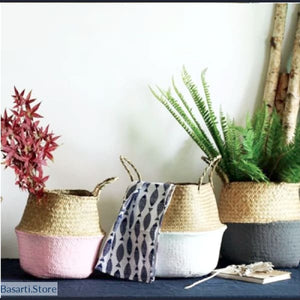 Handmade Foldable Seagrass Baskets - oldable Seagrass Baskets