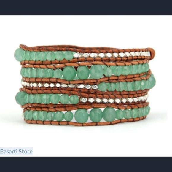 Handmade Graduated Aventurine and Silver Beads Leather Wrap Bracelet - Aventurine and Silver Beads Wrap Bracelet