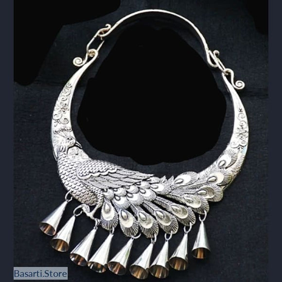 Handmade Miao Silver Chocker Necklace - Peacock - Peacock - tribal necklace