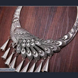 Handmade Miao Silver Chocker Necklace - Peacock - tribal necklace