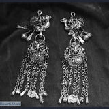 Handmade Miao Silver Drop Earrings - 3 Different Styles - Birds and Baskets - tribal earrings