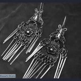 Handmade Miao Silver Drop Earrings - 3 Different Styles - Flowers and Butterflies - tribal earrings
