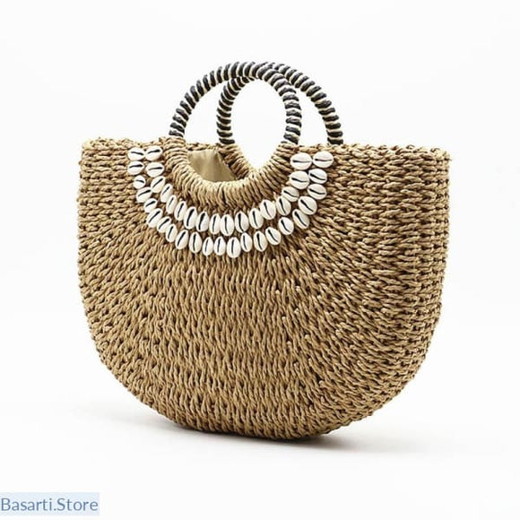 Handmade Woven Straw & Shells Beach Bag - 100002856