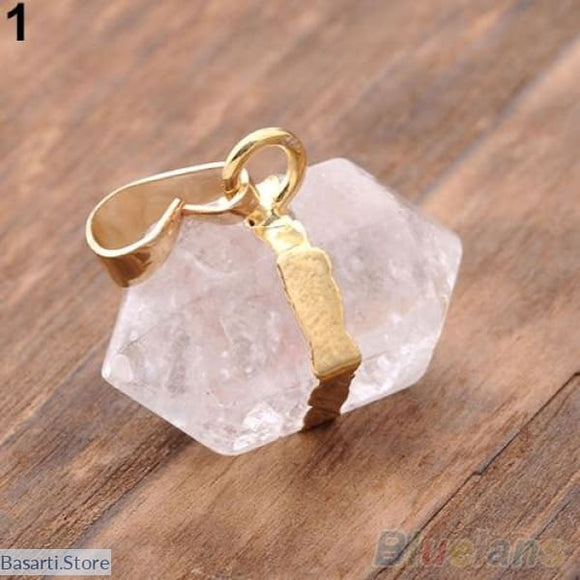 Hexagon Crystal Quartz Pendant For Necklace (Pendant Only) - Natural Pink Crystal - Jewelry Necklace Pendant