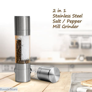High Quality 2 In 1 Stainless Steel Manual Pepper Salt Spice Mill Grinder - Gadget