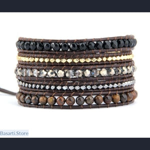 High Quality 5 Strands Natural Stones with Gold Silver Beads Leather Wrap Bracelet Beaded Bangle Bracelet Punk Couple Jewelry - 200000147
